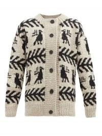 SSŌNE Reunion bird-intarsia wool cardigan ~ patterned cardigans ~ birds ~ neutral knitwear