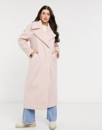 River Island brushed oversized maxi coat in pink ~ textured coats