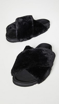 ROAM Mini Cloud Slides / fluffy black sliders - flipped