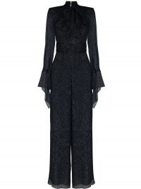 Roland Mouret pussybow collar metallic jumpsuit | shimmering navy jumpsuits | partywear