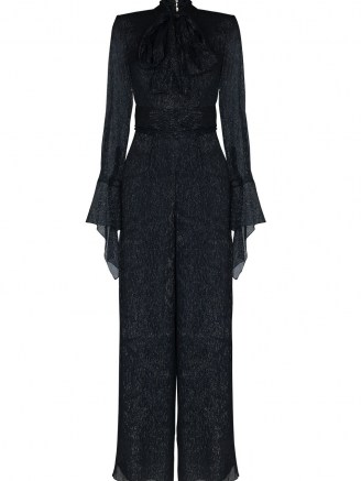 Roland Mouret pussybow collar metallic jumpsuit | shimmering navy jumpsuits | partywear - flipped