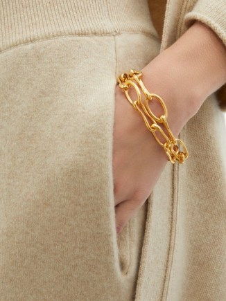 SOPHIE BUHAI Roman double chain-link 18kt gold-plated bracelet ~ chunky chains ~ contemporary bracelets - flipped