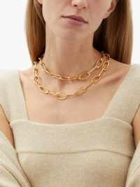 SOPHIE BUHAI Roman double chain-link 18kt gold-plated choker ~ chunky statement chokers ~ chain necklaces