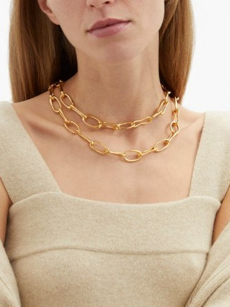SOPHIE BUHAI Roman double chain-link 18kt gold-plated choker ~ chunky statement chokers ~ chain necklaces - flipped