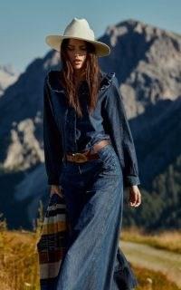 Dorothee Schumacher Romance Denim Blouse | blue frill detail blouses | boho fashion