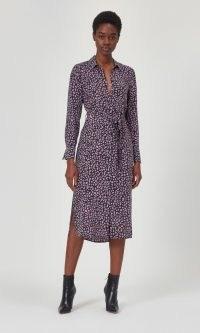 EQUIPMENT ROSALEE SILK DRESS TRUE BLACK VALERIAN – printed tie waist dresses – side split hemline