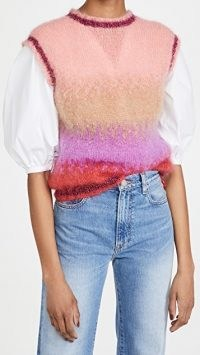 Rose Carmine Mohair Knit Vest ~ colour block crew neck knitted tank