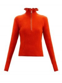 CHLOÉ Ruffled-neckline wool-blend sweater in red ~ bright sweaters