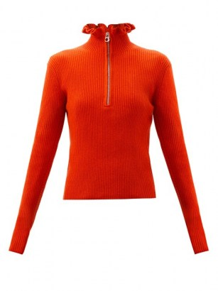 CHLOÉ Ruffled-neckline wool-blend sweater in red ~ bright sweaters - flipped
