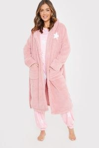 SAFFRON BARKER PINK EMBROIDERED STAR DRESSING GOWN ~ hooded robes / dressing gowns