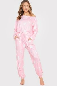 SAFFRON BARKER PINK STAR PRINT OFF SHOULDER PYJAMA SET ~ pyjamas ~ nightwear sets