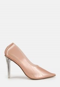 MISSGUIDED sand clear court heels ~ transparent courts