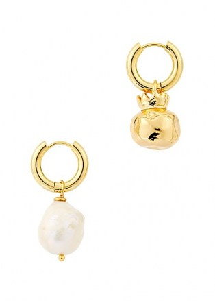 SANDRALEXANDRA Pomegranate and pearl 18kt gold-plated hoop earrings / mismatched drops / jewellery