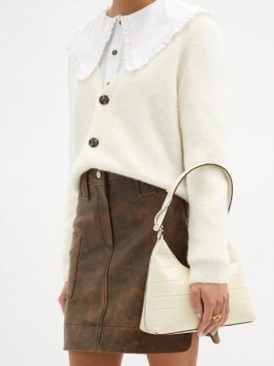 STAUD Scotty crocodile-effect leather shoulder bag ~ cream croc embossed handbag - flipped