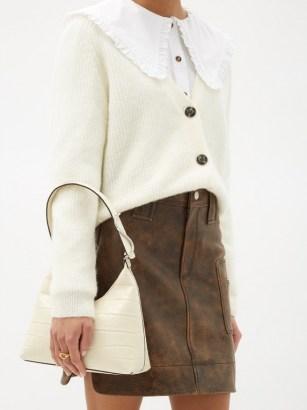 STAUD Scotty crocodile-effect leather shoulder bag ~ cream croc embossed handbag
