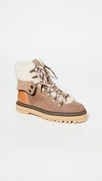 See by Chloe Eileen Ankle Boots in Crosta Taupe / shearling trim lace up boot