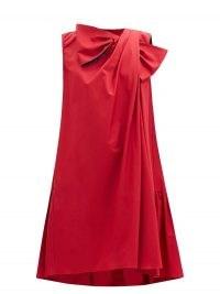ROKSANDA Selena bow appliqué draped cotton-poplin dress ~ red drape design dresses ~ clothing with volume