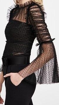 Self Portrait Dot Mesh Angel Sleeved Top ~ black semi sheer party tops ~ evening fashion