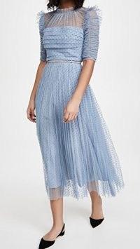 Self Portrait Dot Mesh Trim Midi Dress ~ light blue semi sheer frill trim dresses
