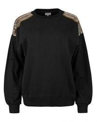 OLIVER BONAS Sequin Striped Shoulder Black Sweatshirt / sparkling embellished sweatshirts