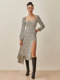 Reformation Shelby Dress in Ocelot | thigh high slit dresses
