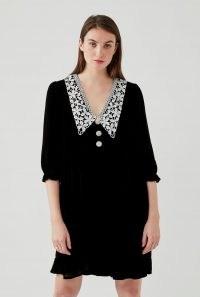 GHOST BEAU DRESS Black ~ velvet crochet collar dresses