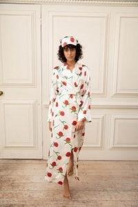 YOLKE Orange Print Silk Dressing Gown Ivory – fruit prints – luxury nightwear – printed bedtime gowns / robes