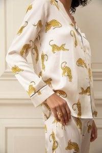 YOLKE Prowling Leopard Silk Pyjama Set – wild animal prints – pyjamas – nightwear sets