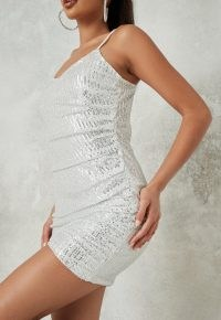 MISSGUIDED silver sequin ruched cami mini dress ~ shimmering skinny strap party dresses