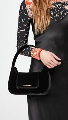 Simon Miller Retro Bag / small black velvet handbag - flipped
