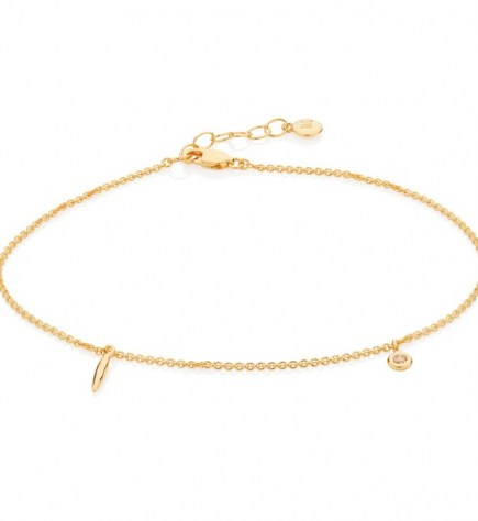 Monica Vinader Siren Charm Anklet 18ct Gold Plated Vermeil | anklets with charms | delicate jewellery - flipped