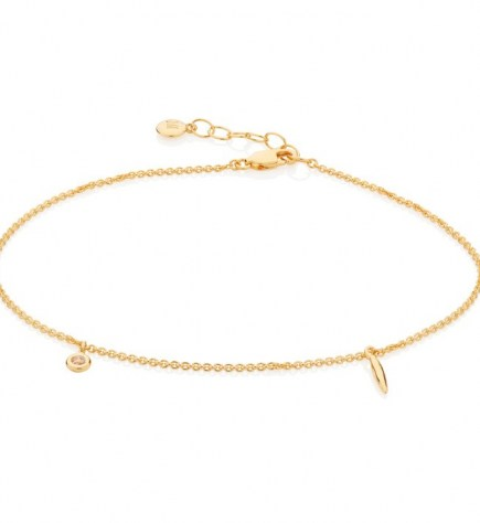 Monica Vinader Siren Charm Anklet 18ct Gold Plated Vermeil | anklets with charms | delicate jewellery