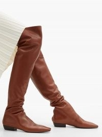 THE ROW Slouch over-the-knee leather boots | brown slouchy winter boots | ruched design footwear