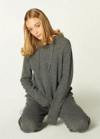 L.K. BENNETT SMITH GREY CASHMERE HOODED TOP ~ luxe hoodies ~ loungewear