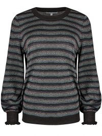 OLIVER BONAS Sparkle Stripe & Frill Cuff Blue Jumper / sparkling striped jumpers