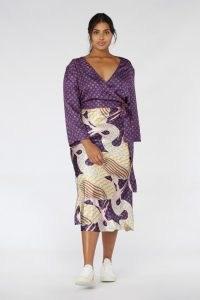 Camilla Perkins X Gorman STORK TALK SKIRT / printed recycled polyester slip skirts / bird prints / midi / birds