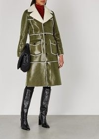 STAND STUDIO Adele army green faux leather coat / faux shearling winter coats