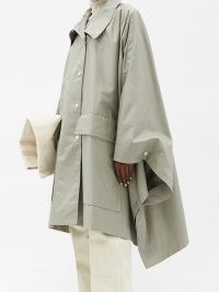 LEMAIRE Stand-collar coated cotton-twill cape coat ~ chic raincoats ~ capes ~ rainwear