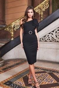 LAVISH ALICE statement bow shoulder ponte midi dress in black ~ one shoulder lbd
