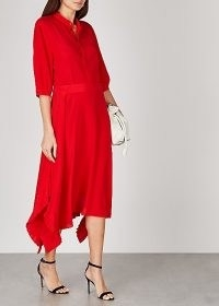 STELLA MCCARTNEY Ophelia red silk crepe de chine midi dress / effortless evening style / elegant occasion dresses