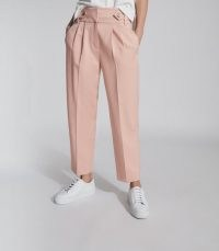 Reiss STEVIE HIGH WAISTED CROPPED TROUSERS PINK | front pleat pants