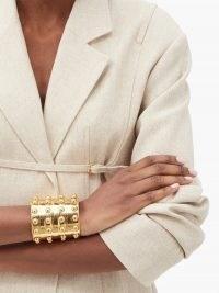 SYLVIA TOLEDANO Stone Massai III studded metal cuff ~ stud detail statement cuffs