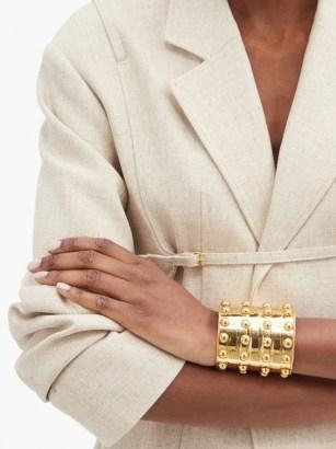 SYLVIA TOLEDANO Stone Massai III studded metal cuff ~ stud detail statement cuffs - flipped