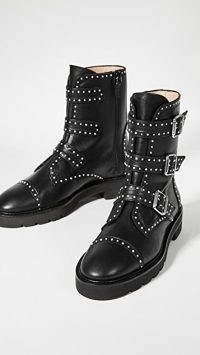 Stuart Weitzman Jesse Lift Boots / black studded biker boots