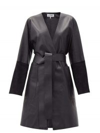 LOEWE Suede-panelled leather wrap coat ~ luxe coats