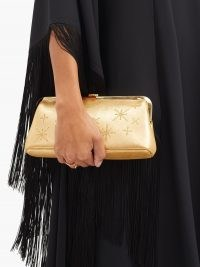 MARK CROSS Susanna crystal-embellished leather clutch ~ metallic gold evening bags ~ special occasion vintage style accessories