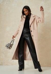 MISSGUIDED tan oversized long coat ~ longline coats ~ modern classics