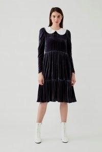 GHOST TASHIA DRESS Charcoal ~ velvet peter pan collar dresses
