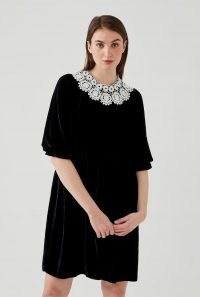 GHOST TAYA DRESS Navy ~ dark blue velvet dresses ~ oversized crochet lace collars