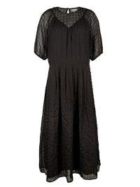 OLIVER BONAS Textured Square Check Black Midi Dress / sheer overlay dresses